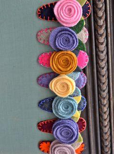 THREE Felt Flower Rose Hair Barrettes - choose your colors. $13.50, via Etsy.
