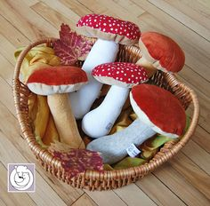 Waldorf Nature Table Mushroom Red Soft Toy 7 inch made from Natural Materials. Felt Crafts, Fabric Crafts, Sewing Crafts, Diy And Crafts, Sewing Projects, Craft Projects, Mushroom Crafts, Waldorf Crafts, Nature Table