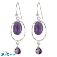 Sterling Silver amethyst Earring SDER2125 | Sky Divine Jewelry, $45.24