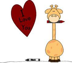 I Love You Giraffe Valentine's Day Clip Art - I Love You Giraffe Valentine's Day Image