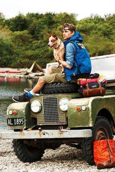 Land Rover, exploring, man, male, dog, transportation, water, trees, wheels, photograph, photo