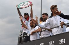 The Juventus FC players celebrate on their bus after the Serie A match between Juventus and Cagliari Calcio at Juventus Arena on May 18, 201...