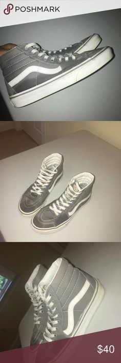 766b91c96f Grey hightop vans Grey hightop vans Selling because I haven t worn them  that much anymore Their a little wet because I had just hand cleaned the  soles Size ...