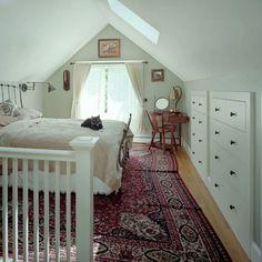 Built-in Storage Attic Master Bedroom, Attic Bedroom Designs, Attic Design, Attic Bathroom, Bedroom Loft, Small Attic Bedrooms, Eaves Bedroom, Small Attic Room, Dormer Bedroom