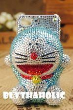 iPhone4 iPhone4s iPhone5 3D Blue Doreamon Cat Swarovski Bling Hard Case NEW