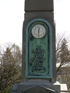 """""""My father's clock placed here at my request"""" Sleepy Hollow Cemetery Sleepy Hollow, New York"""