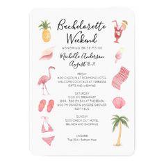 Watercolor Beach Bachelorette Weekend Itinerary Invitation Bachelorette Party Invitations, Beach Wedding Invitations, Custom Invitations, Birthday Party Invitations, Wedding Beach, Bachelorette Themes, Invitation Cards, Summer Wedding, Invites
