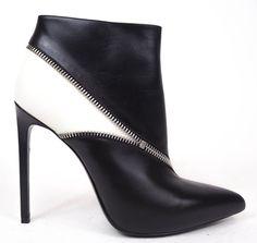 Saint Laurent Black & White Leather Zip Up Color Block Bootie Heels 39 8.5 $995 #SaintLaurent #Bootie