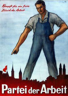 Le système politique suisse, avec ses élections au niveau communal, cantonal et fédéral, procure de nombreuses opportunités de mise en scène du monde ouvrier. On le retrouve donc fréquemment sur les affiches liées au Parti socialiste et au Parti du travail et parfois aussi, même si elles sont plus rares, du côté de la droite et de l'extrême-droite, en particulier dans l'entre-deux-guerres. Movie Posters, Vintage, Political System, Switzerland, Posters, World, Film Poster, Popcorn Posters, Vintage Comics