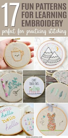 Folk Embroidery Patterns If you're a beginner and looking for some easy patterns, check out our 17 fun projects that are a perfect way to learn embroidery. Thes patterns are perfect for practicing some of the easiest and most basic embroidery stitches. Basic Embroidery Stitches, Learn Embroidery, Embroidery Hoop Art, Hand Embroidery Designs, Embroidery Techniques, Ribbon Embroidery, Cross Stitch Embroidery, Machine Embroidery, Embroidery Ideas
