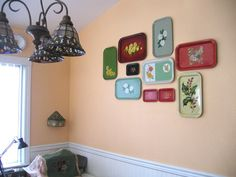 Tole trays as wall art