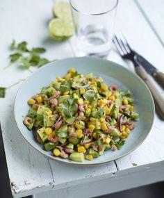 Avocado salade met Crispy Maïs en grijze garnalen - Recept Bonduelle
