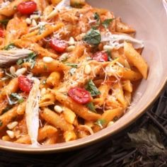 Roasted red pepper and basil pesto penne...this site has amazing looking recipes.