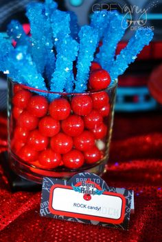 Rock candy at a Rockstar party!  See more party ideas at CatchMyParty.com!