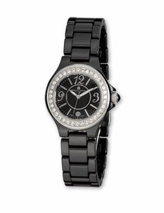 Black Ceramic Watch with Swarovski Crystals
