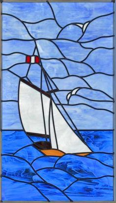 """SBOAT"" LEADED STAINED GLASS SAILBOAT WINDOW CUSTOM AT GLASS BY DESIGN"