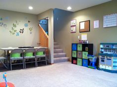 love this but need smaller tables for the children, In home daycare lay out, fingers crossed our new house has a basement!
