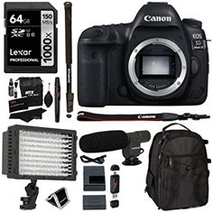 Canon EOS 5D Mark IV Full Frame Digital SLR Camera Body, Lexar Professional 1000x 64GB Memory Card, Polaroid LED Video Light, Microphone, Ritz Gear Backpack, Monopod, Filter Kit and Accessory Bundle $3299.00