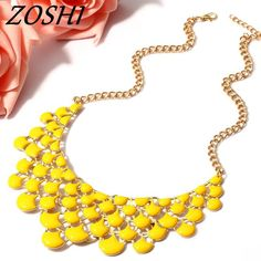 ZOSHI Fashion Gold Chain Statement Necklaces Collares Colorful Green Enamel Maxi Collar Choker Necklace For Women Tassle Jewelry Collar Choker, Statement Necklaces, Gold Fashion, Gold Chains, Chokers, Enamel, Colorful, Pendant Necklace, Tour