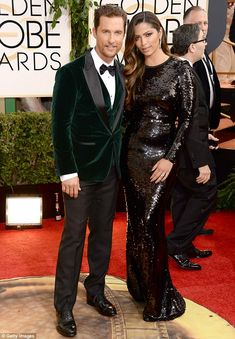 Wow! Dallas Buyer's Club star Matthew McConaughey looked dashing in a green velvet blazer while his wife Camila Alves lit up the 71st Golden...