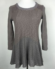 Meadow Rue Anthropologie Gray Long Sleeve Tunic Mixed Media Size XS Q19 | eBay