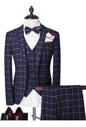 Men's Suits Slim Fit One Button Blazer Jacket & Vest & Trousers Set 3-Piece
