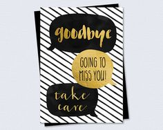 Printable Farewell / Goodbye Card - Goodbye, going to miss you, take care, speech bubbles - Instant PDF Download