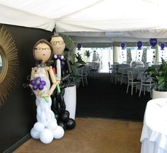 Bride and Groom Balloon Sculptures | Moxhull Hall: Bride and Groom Character Greeters by Huff, Puff and ...