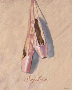 Ballerina Slippers Giclee Fine Art Print 8x10 by babychickdesigns, $18.00