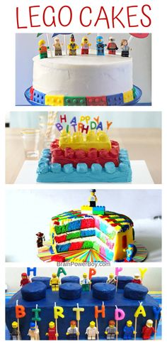 Try these Easy LEGO Cakes that you can actually make! All of these cakes include recipes and instructions to help you. Great for LEGO birthday parties or any time! Diy Lego Birthday Cake, Boys Birthday Cakes Easy, Easy Lego Cake, Lego Torte, Lego Ninjago Cake, Lego Superhero Cake, Lego Batman, Bolo Lego, Cakes Without Fondant