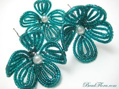 teal flower bead hair pins