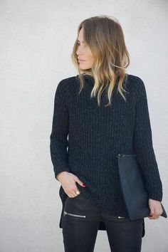 Anine Bing giving us serious fall outfit envy. Perfect ombre locks and black from head-to-toe.