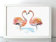 Flamingo Aquarel schilderij  Reproductie print  door Zendrawing