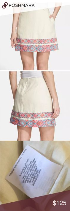 """Tory burch Ruby linen embroidered skirt Nwt 6 About 32"""" waist 17.5"""" long Tory Burch Skirts Mini"""