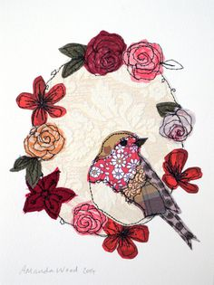 Robin gifts embroidery mothers day robin textile art robin stitched robin framed art robin picture f Freehand Machine Embroidery, Hand Embroidery Tutorial, Free Motion Embroidery, Rose Embroidery, Free Machine Embroidery, Embroidery Applique, Bird Applique, Applique Quilts, Quilting