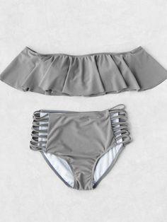Shop Grey Strapless Ladder Cutout High Waist Ruffle Bikini Set at ROMWE, discover more fashion styles online. Trendy Swimwear, Cute Swimsuits, Cute Bikinis, Swimwear Fashion, Bikini Fashion, Bikini Swimwear, Women Swimsuits, Vintage Swimsuits, Bandeau Bikini