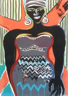 Elvira Bach, Rainer Fetting, Paper, Strong Women, Wall Canvas, Painting, Art