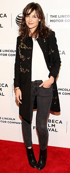 Katie Holmes is casual cool in faded black jeans and a Prada coat at the Boulevard premiere at the Tribeca Film Festival