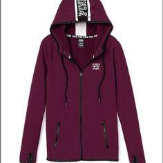 PINK fleece zip up❄️ PINK fleece stretch zip up hoodie, never worn super cute! Maroon colored(: very soft! PINK Victoria's Secret Jackets & Coats