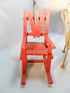 Vintage Red Wood Doll Chair 7 High Bear Chair by KathiJanes, $12.95