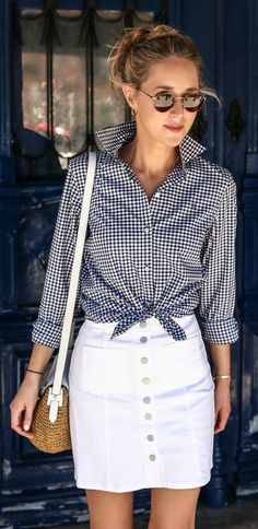 gingham long sleeve button up, white jean skirt, woven shoulder bag, round sunglasses + messy bun {brooks brothers, madewell, michael kors} {Portugal travel guide}