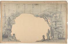 Design for a Stage Set at the Opéra, Paris: Cemetery Eugène Ciceri (French, Paris 1813–1890 Fontainebleau) Date: 1830–90