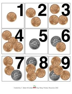 Here is a set of cards numbered that would be a wonderful addition to your pocket chart calendar or in your math tubs. Wonderful for daily rev. Number Sense Kindergarten, Kindergarten Math Activities, Homeschool Math, Teaching Math, Preschool, Counting Coins, Counting Money, Learning Money, Teacher Forms