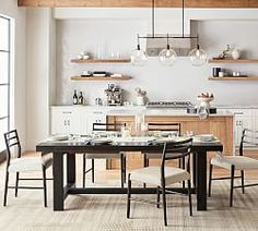Benchwright Extending Dining Table - Blackened Oak | Pottery Barn Reclaimed Wood Dining Table, Trestle Dining Tables, Extendable Dining Table, Dining Table Chandelier, Linear Chandelier, Wood Floating Shelves, Wood Shelves, Leather Dining Chairs, Large Table