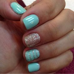 Are you looking for lovely gel nail art designs that are excellent for this summ. - Are you looking for lovely gel nail art designs that are excellent for this summer? See our collect - Mint Green Nails, Mint Nails, Yellow Nails, Gel Nail Art Designs, Nails Design, Mint Nail Designs, Cute Summer Nails, Spring Nails, Summer Shellac Nails