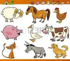 farm: Cartoon Illustration Set of Cheerful Farm and Livestock Animals isolated on White