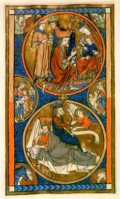 Page from the Oscott Psalter, a richly decorated psalter with 22 full-page miniatures prefatory to the text of the Psalms.