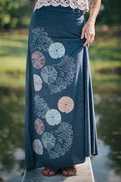 FALL SALE maxi skirt long skirt sea urchins and coral by Flytrap