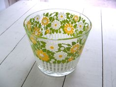 Vintage  Glass Ice Bucket Bowl with Daisy Cottage Garden Design by lookonmytreasures on Etsy