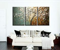 3 piece canvas wall art Modern abstract wall panel textured white cherry blossom oil painting set home decoration free shipping-in Painting & Calligraphy from Home & Garden on Aliexpress.com | Alibaba Group